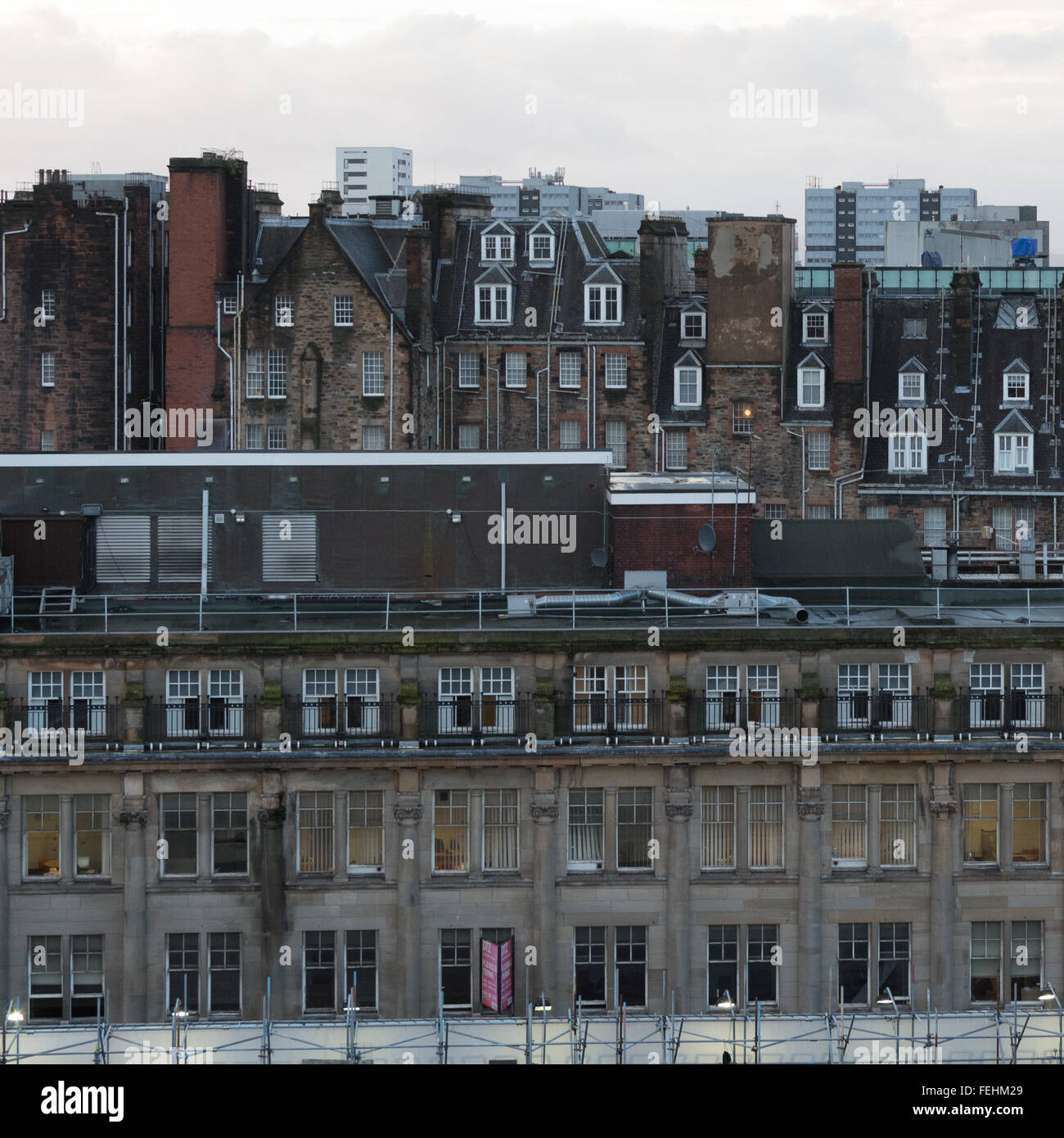 Glasgow city centre buildings and rooftops - Stock Image