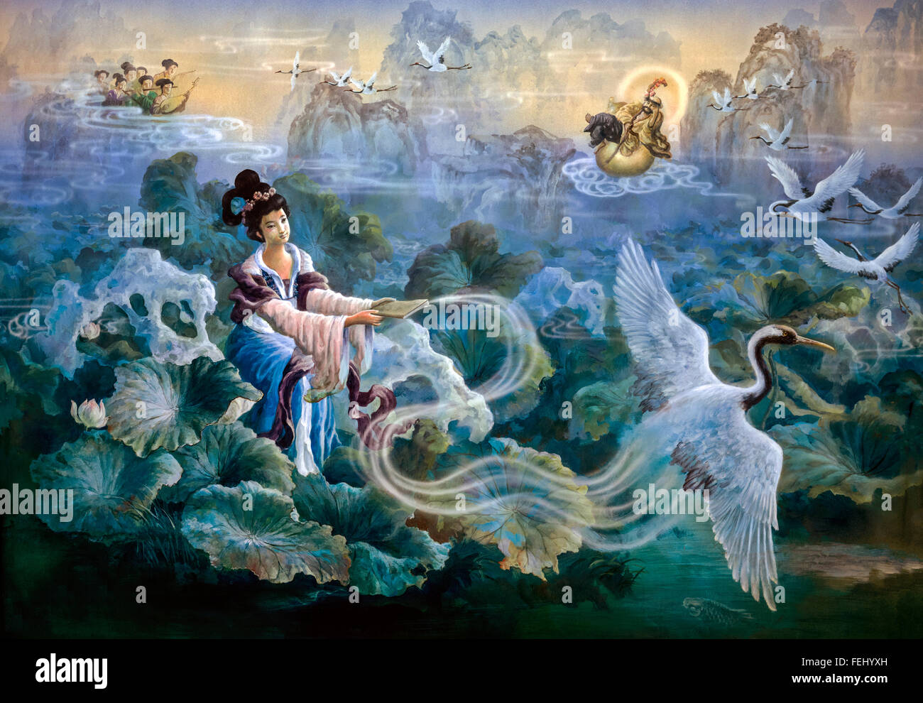 Chinese wall art painting. Surreal - Stock Image
