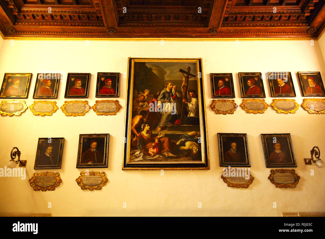Portraits of various popes displayed in Basilica Santa Maria Maggiore in Rome. - Stock Image