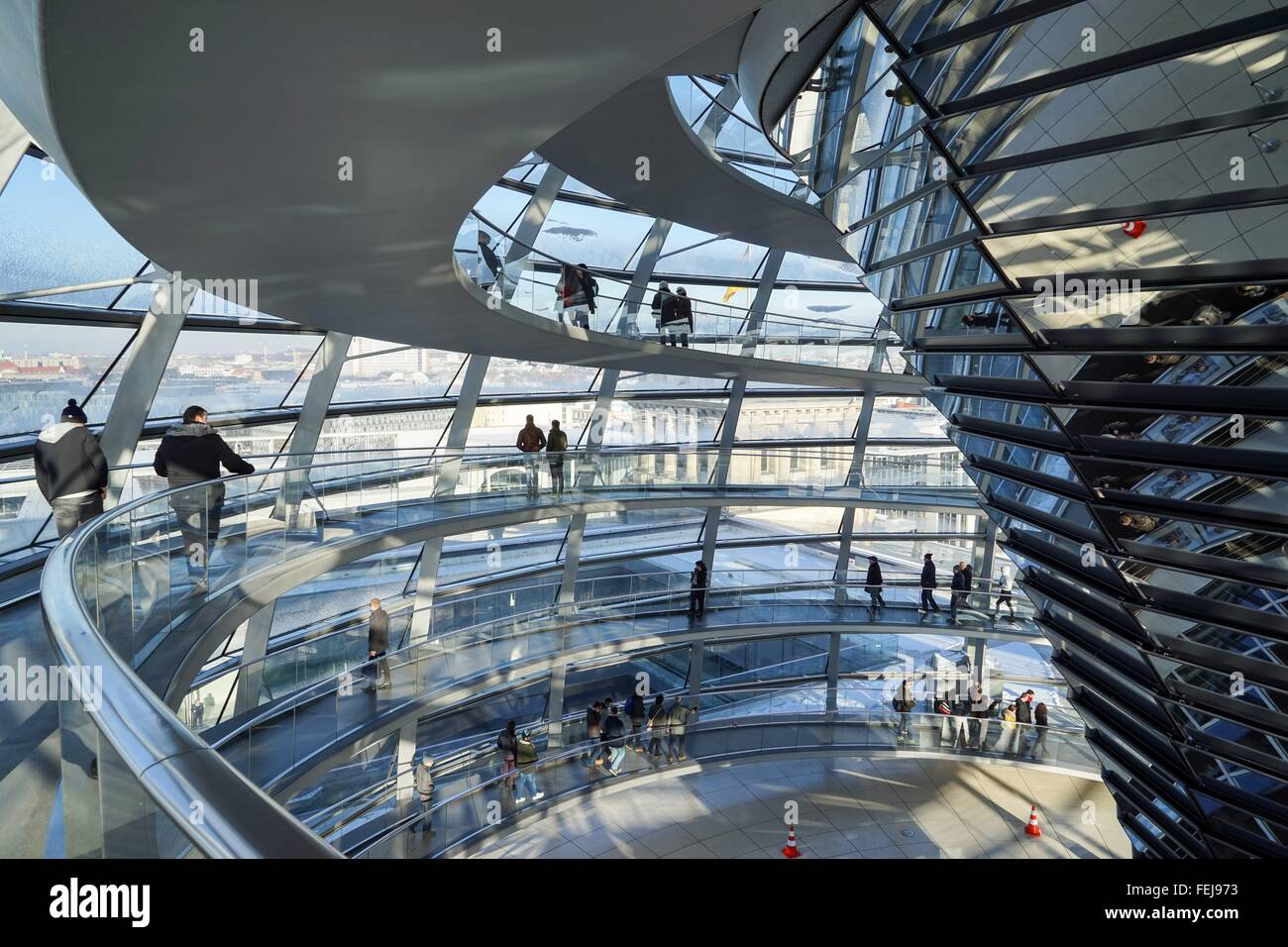 Germany: Inside view of the Reichstag dome. Photo from 22. January 2016. Stock Photo