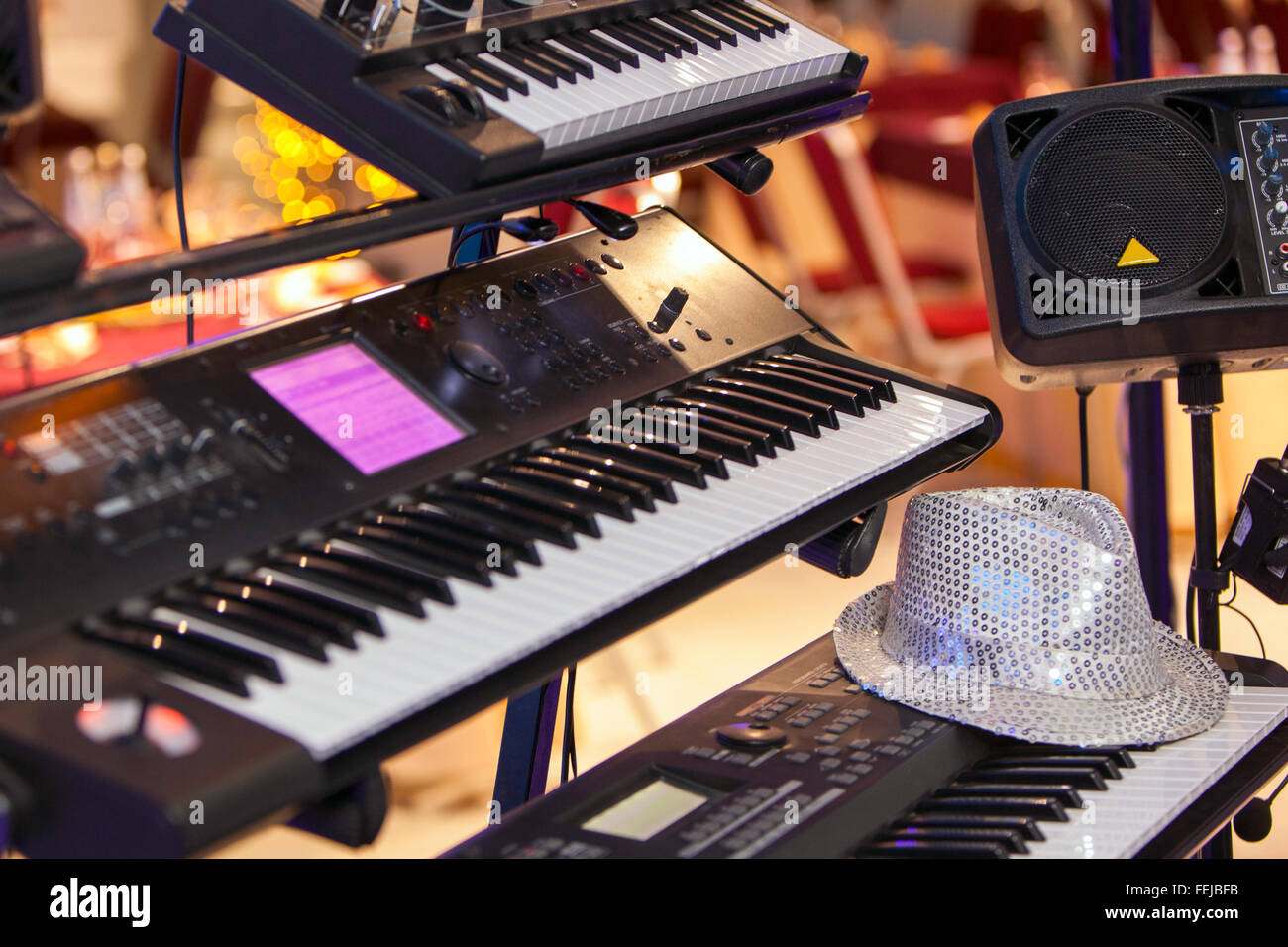 keyboard piano synthesizer for music background - Stock Image