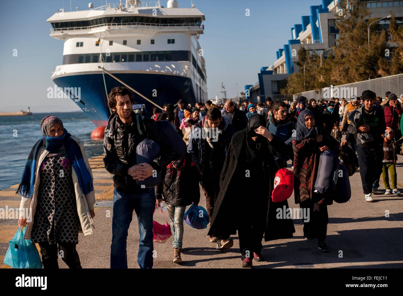 Refugees continue to arrive at Pireaus habour. Due to mild winter weather, refugees reach in the thousands mainland - Stock Image