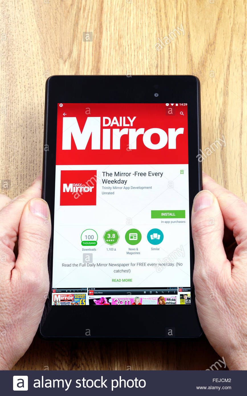 Daily Mirror news app on an android tablet PC, Dorset