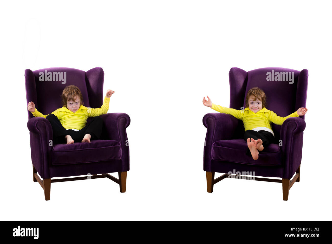 happy, angry red hair boy sitting on the two purple armchairs - Stock Image