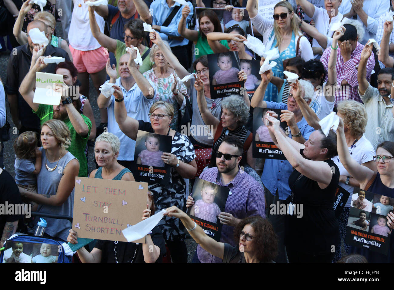 Sydney, Australia. 8 February 2016. Protests were held across Australia in support of letting refugees stay in the - Stock Image