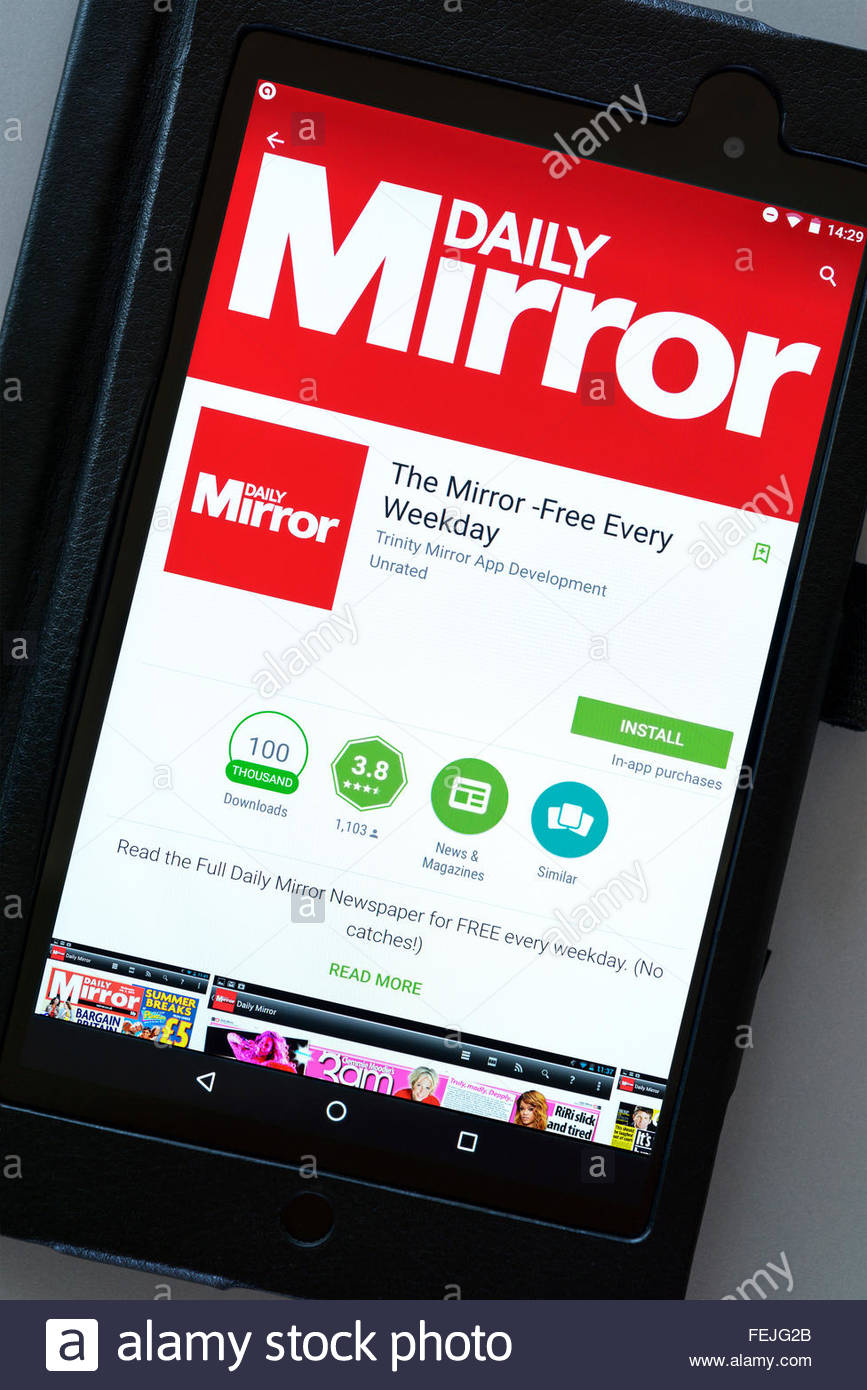 Daily Mirror news app on an android tablet PC, Dorset, England, UK