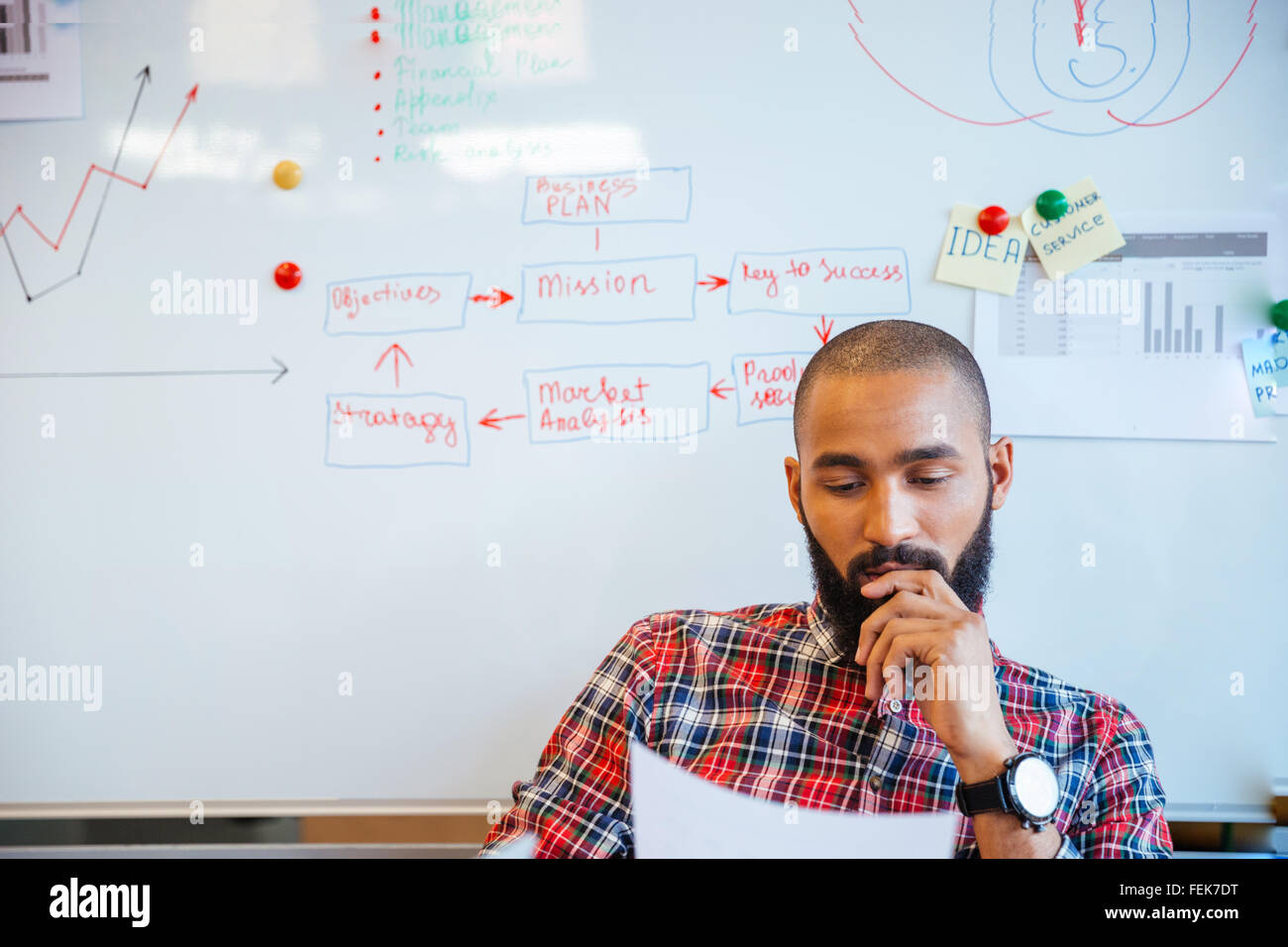 Thoughtful bearded young african american man reading sitting over whiteboard - Stock Image