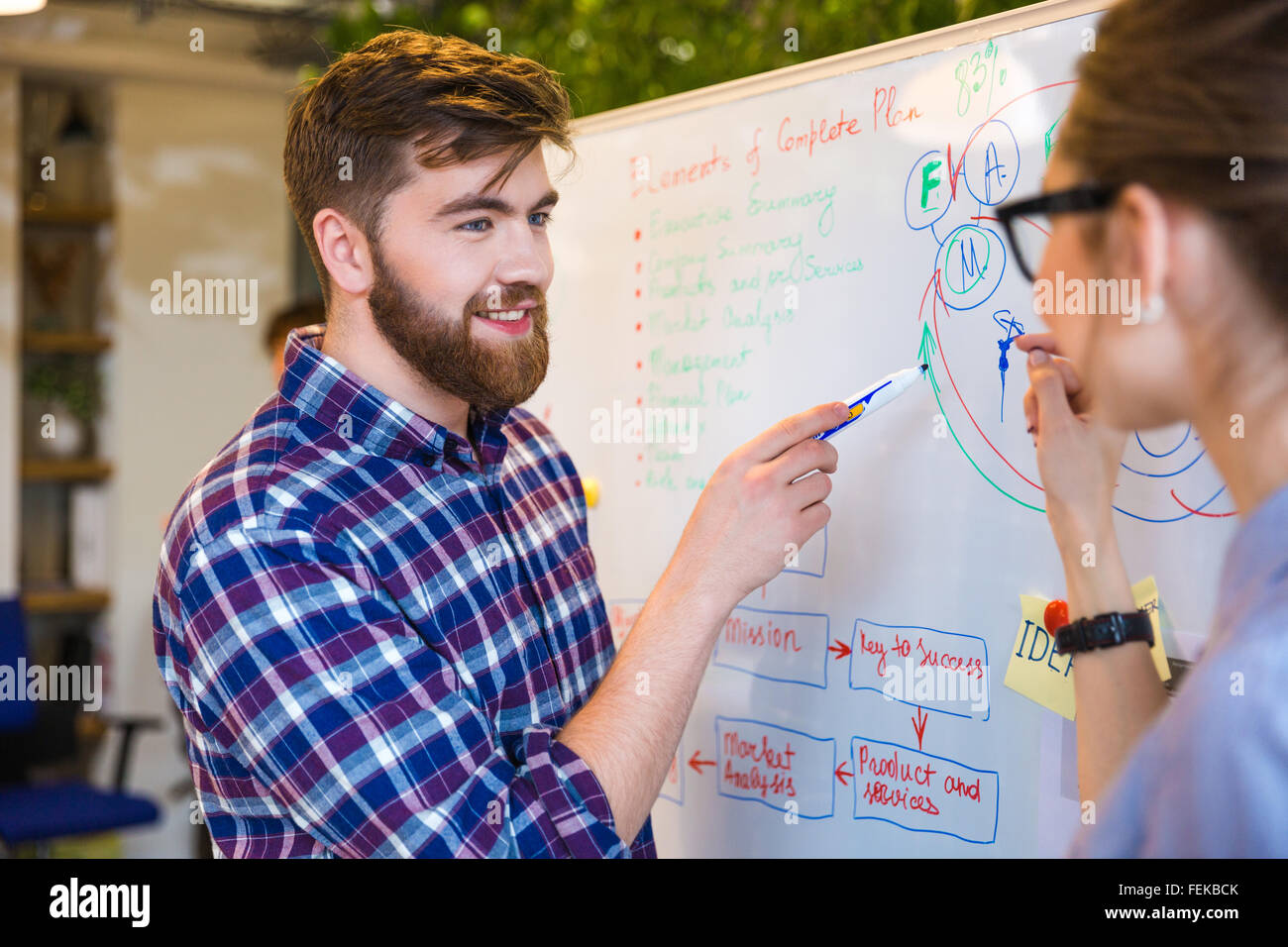 Young two people discussing about business plan in office - Stock Image