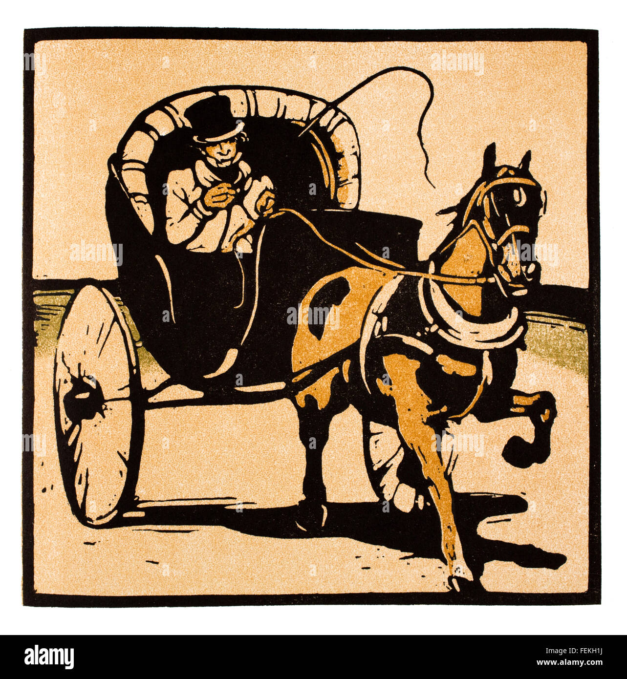The Cabriolet, woodcut print by artist William Nicholson, colour Illustration from 1897 The Studio Magazine competition - Stock Image
