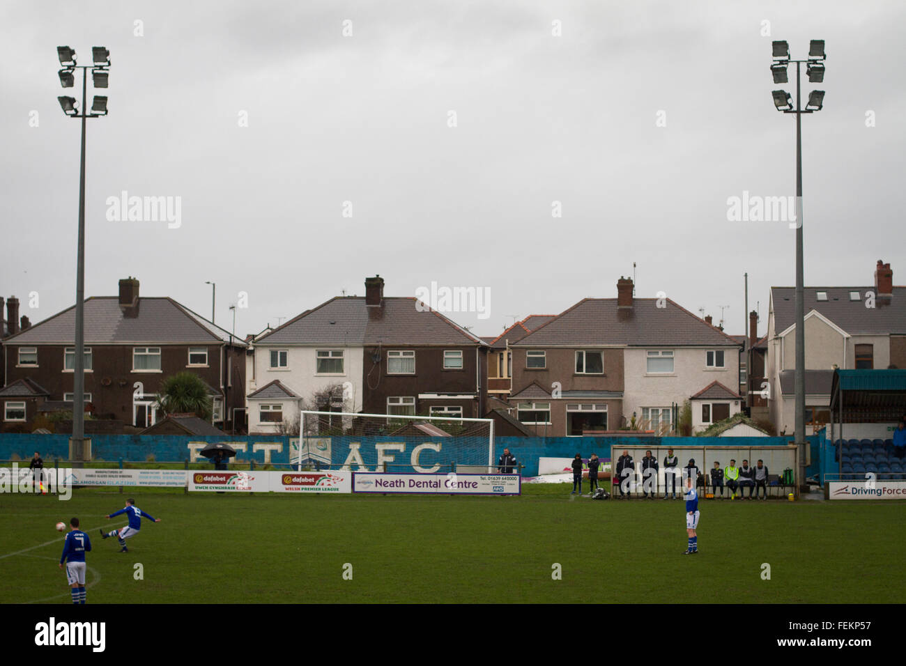 First-half action as Port Talbot Town (in blue) play host to Caerau Ely in a Welsh Cup fourth round tie at the Genquip - Stock Image