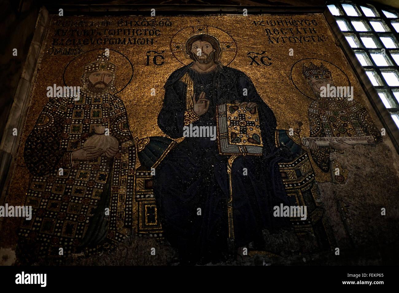 Mosaic depicting Jesus Christ, Hagia Sofia, Istanbul. May 3, 2015. Stock Photo