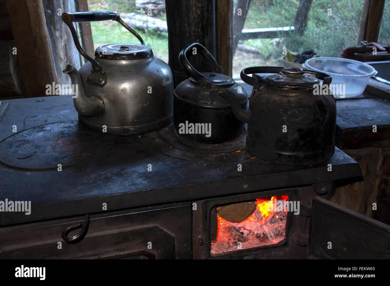 Old firewood kitchen Stock Photo
