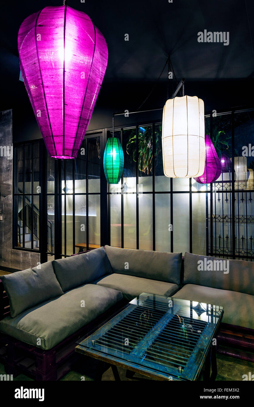 Modern Industrial Contemporary And Asian Interior Design Restaurant Stock Photo Alamy