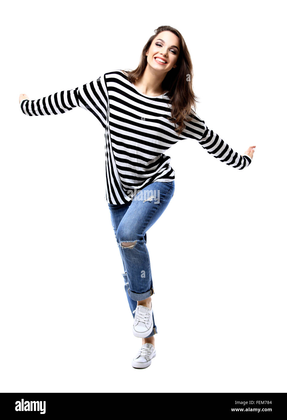 happy crazy excited woman screaming. - Stock Image
