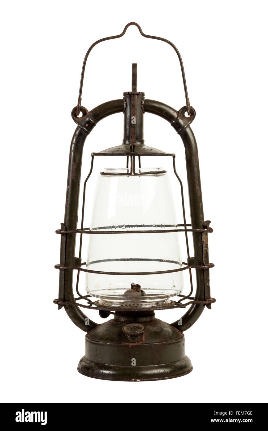 vintage kerosene lamp isolated - Stock Image
