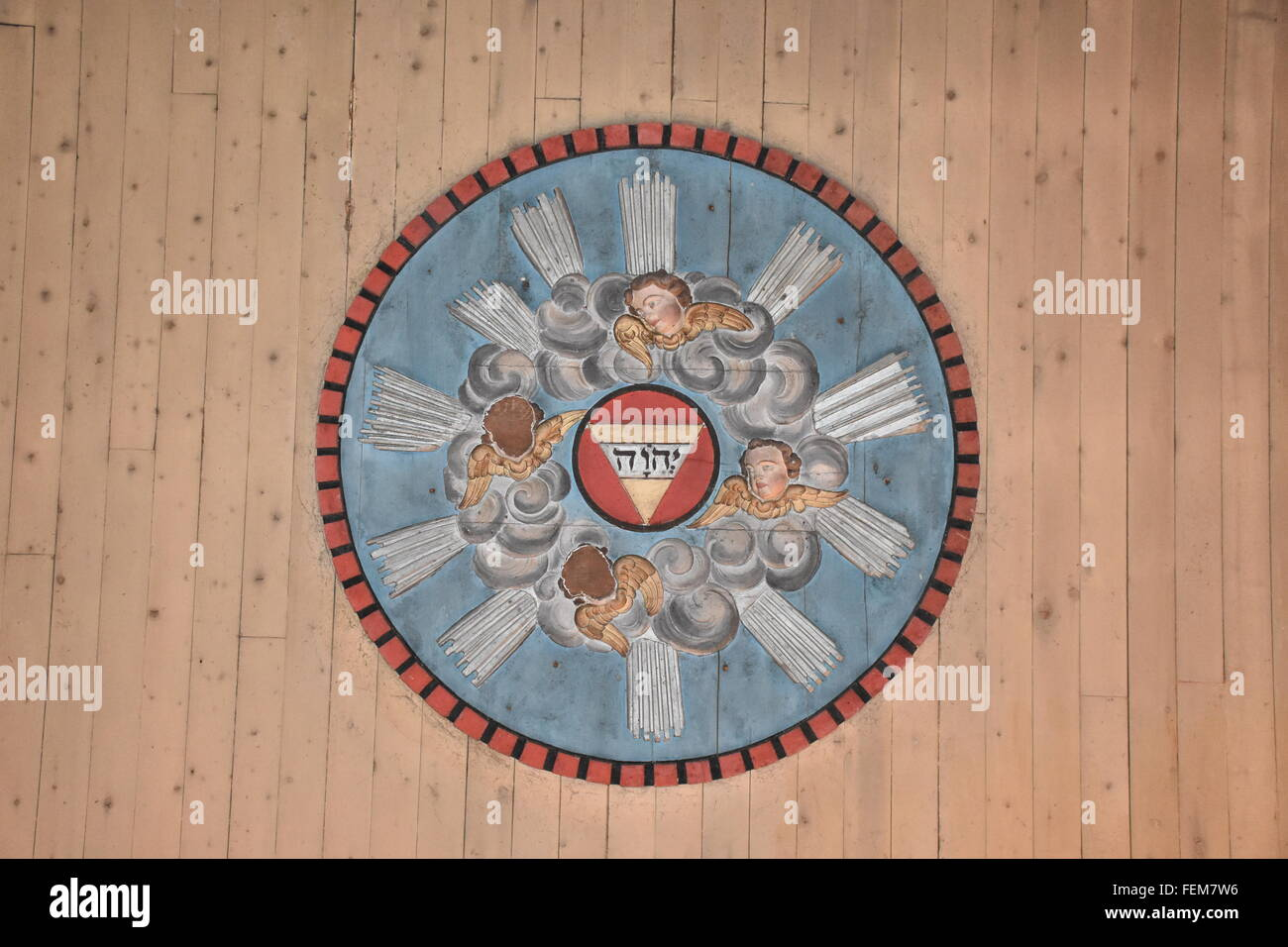 Ceiling rose Croute church Gers France - Stock Image