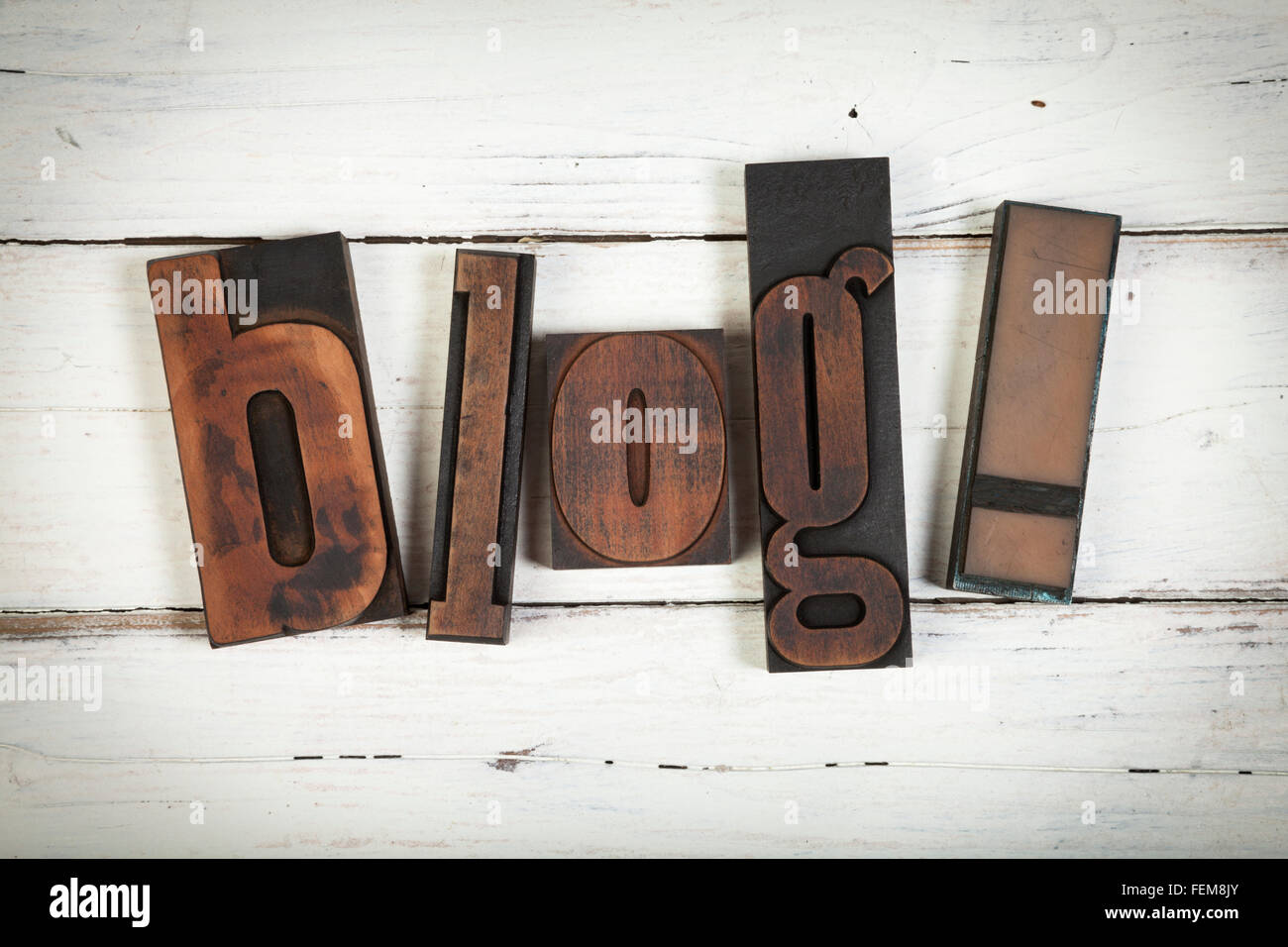 blog, word written with vintage letterpress printing blocks on white painted wooden background - Stock Image
