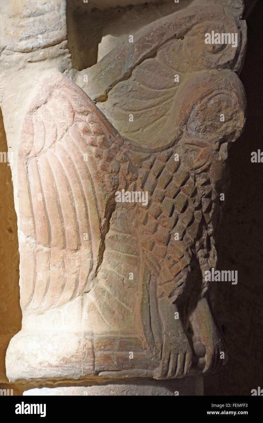 Owl capital, Eglise de Groute Gers - Stock Image