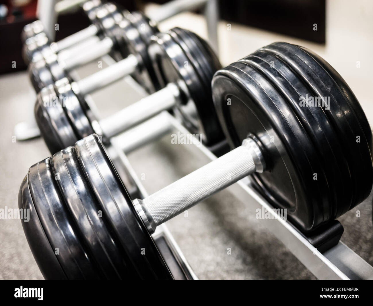 Healthclub gym dumbbell free weights on a rack - Stock Image