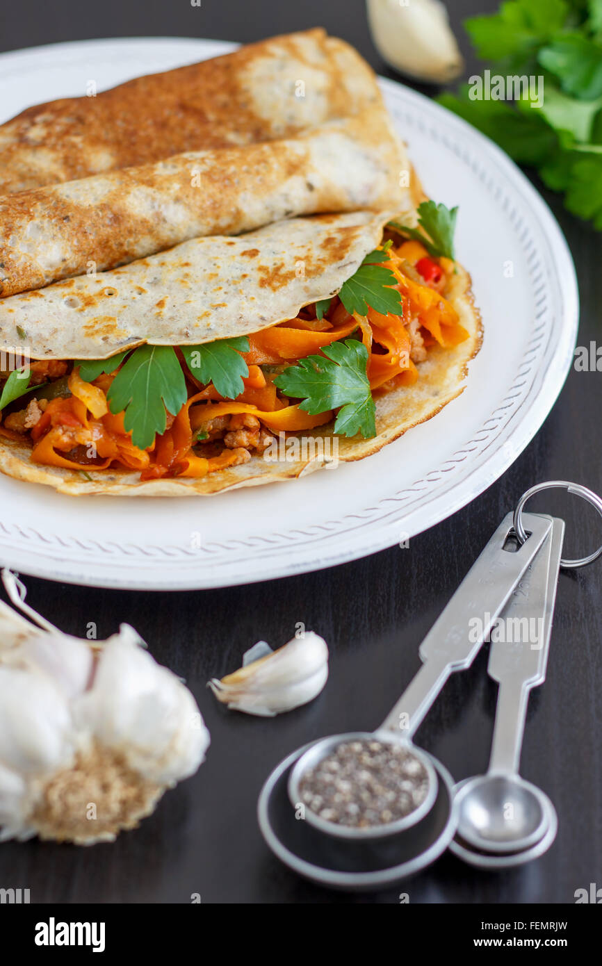 Delicious Savory Pancake - Stock Image