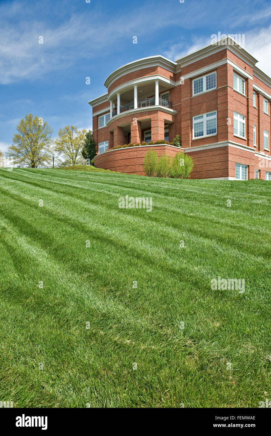 Newly Mowed Lawn In Front of Public Building - Stock Image