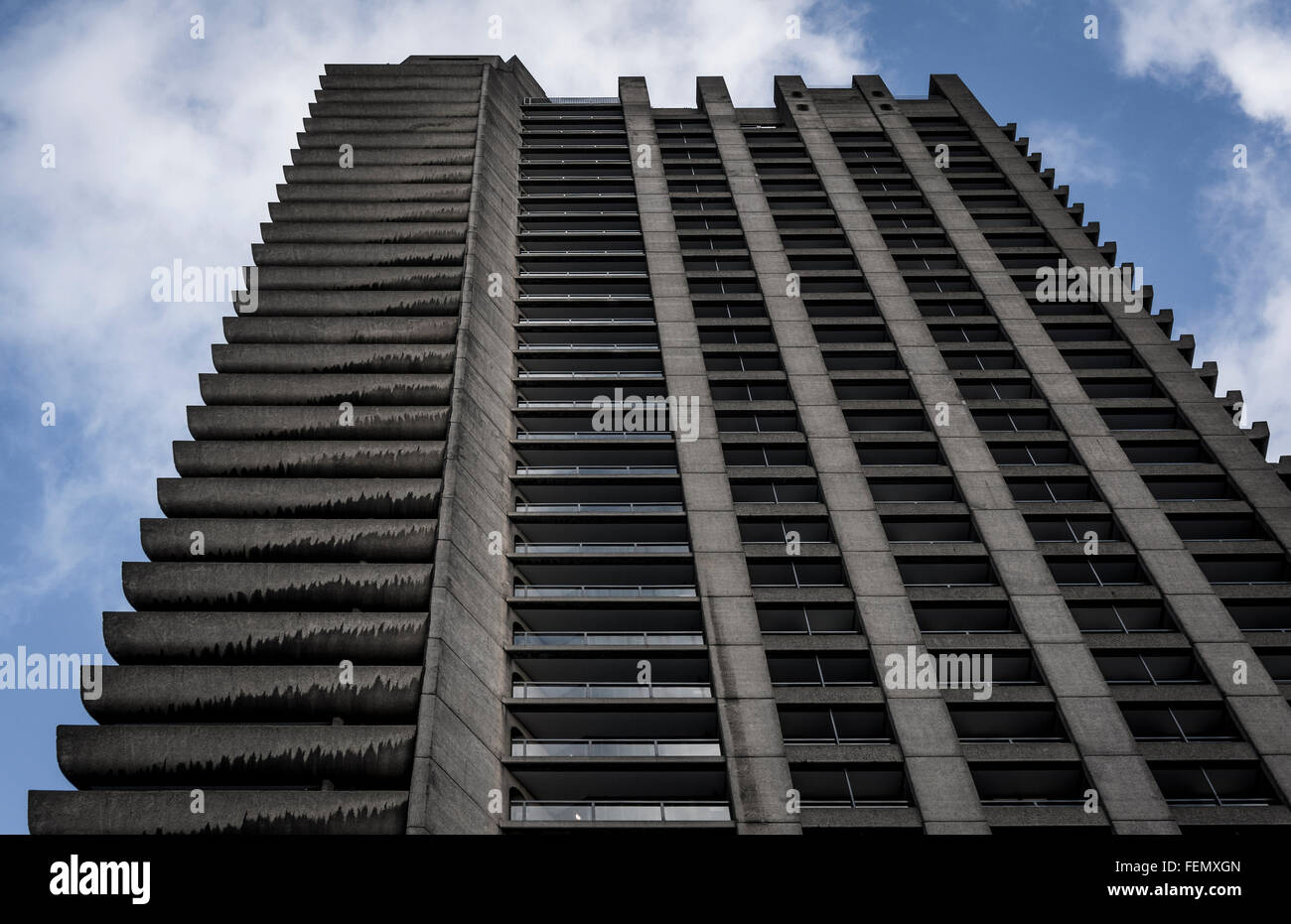 One of the three 42 storey residential tower blocks in The Barbican Estate in The City of London, UK - Stock Image