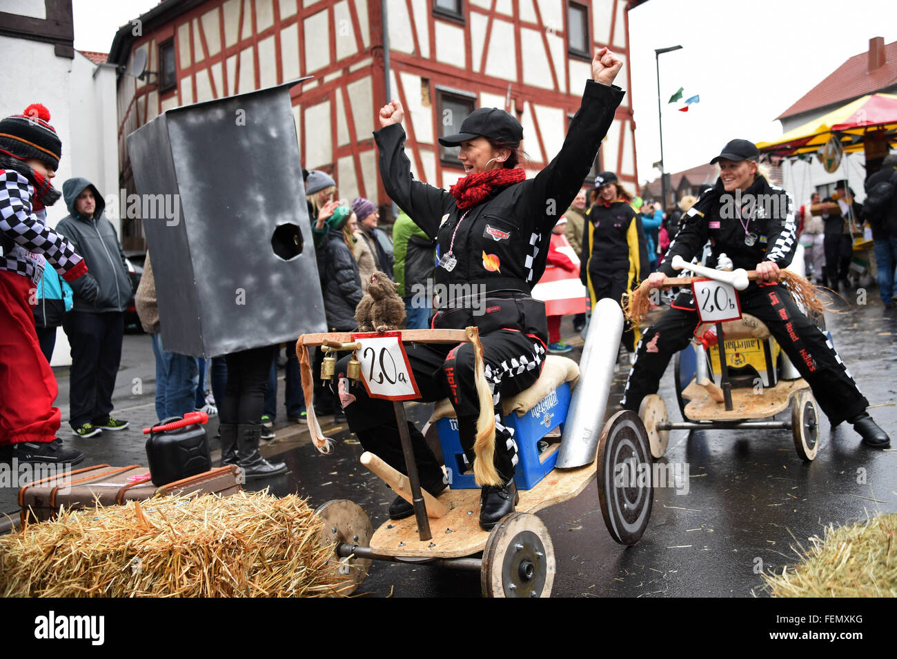 Herbststein, Germany. 08th Feb, 2016. Carnival revellers celebrate despite the rainy weather during the traditional - Stock Image