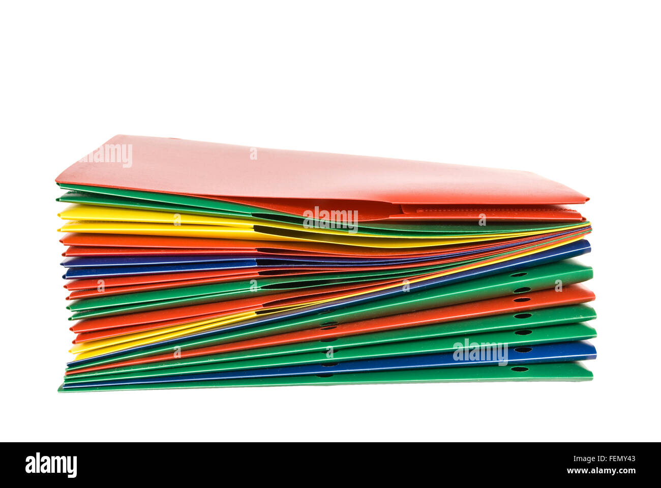 Stack of Plastic Report Folders - Stock Image