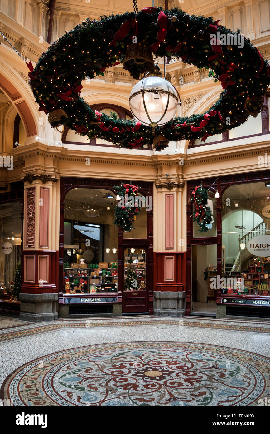 the royal arcade with christmas decorations melbourne australia stock image