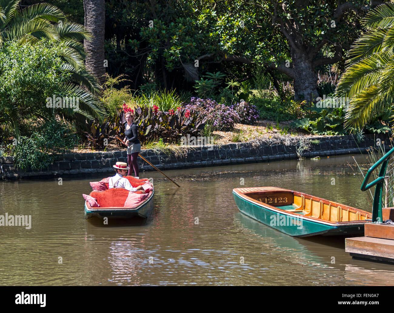 Punts and Punter, The Royal Botanic Gardens, Melbourne, Australia - Stock Image