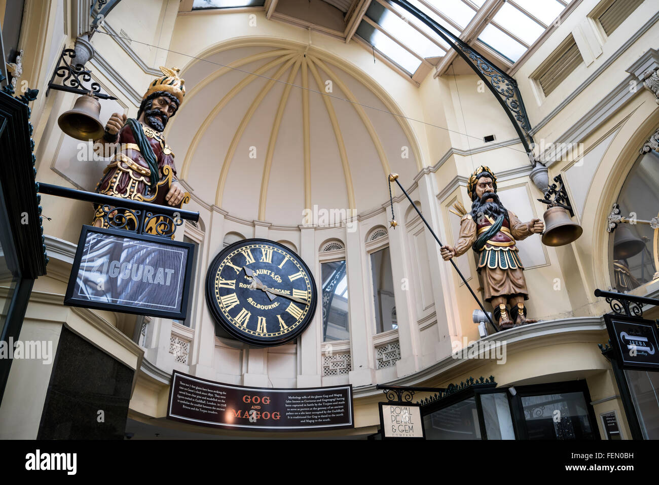 Gog and Magog striking Gaunt's clock, The Royal Arcade, Melbourne, Australia - Stock Image