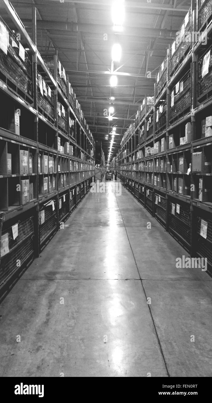 Storage Corridor In Diminishing Perspective - Stock Image