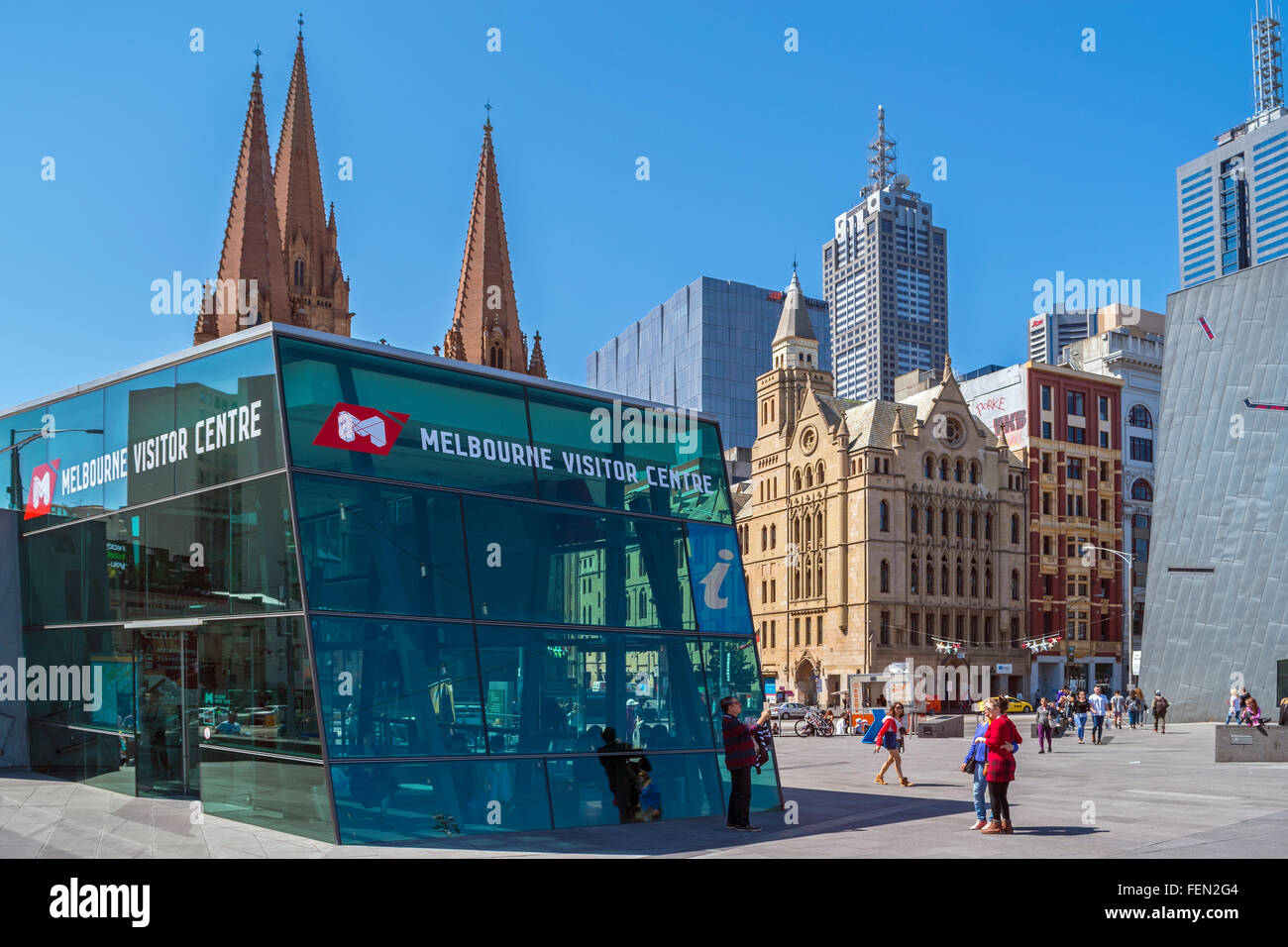 Melbourne Visitor Centre, Federation Square, Melbourne, Australia - Stock Image