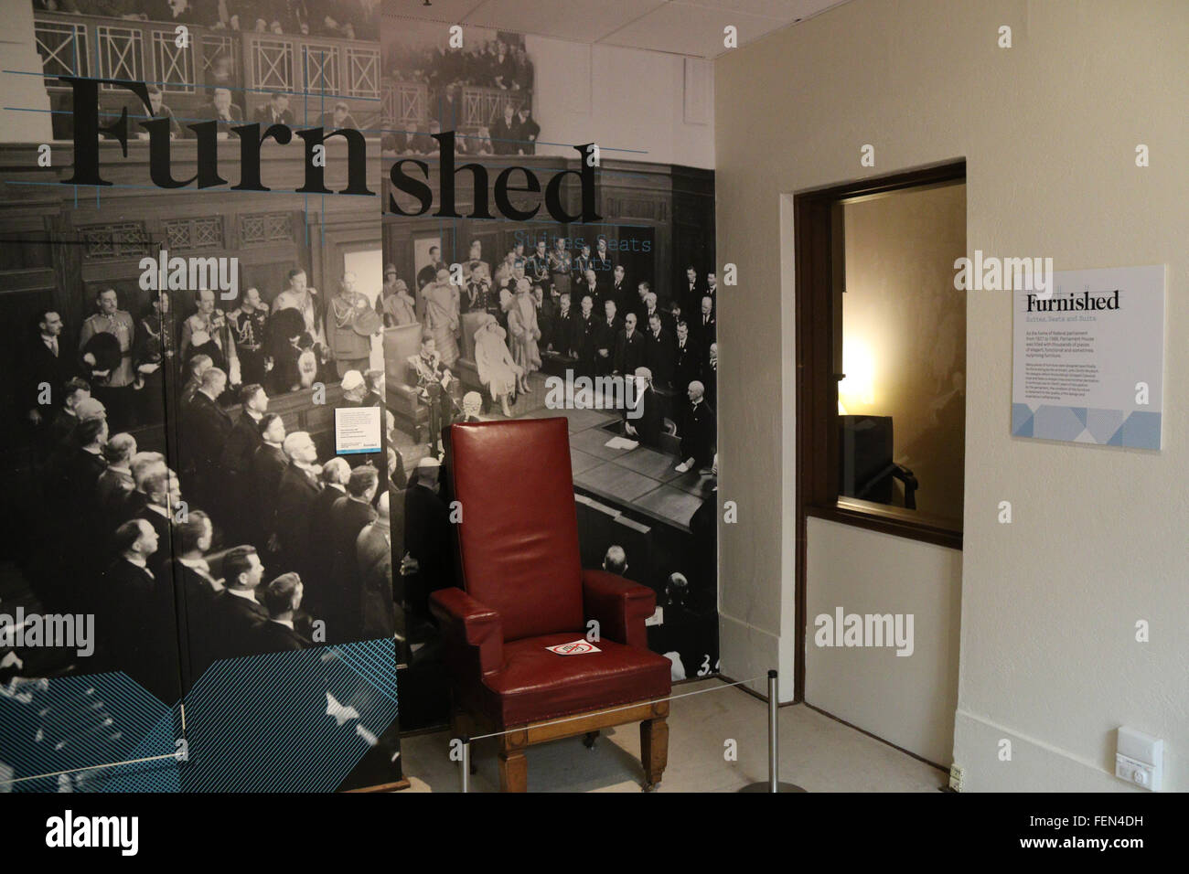Inside Old Parliament House in Canberra, now the Museum of Australian Democracy; Furnished. - Stock Image