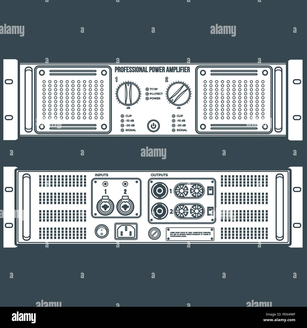 Speaker Panels Stock Photos Images Alamy Crossovers Circuit Diagram Vector White Solid Color Stereo Amplifier Front Back Dark Background Image