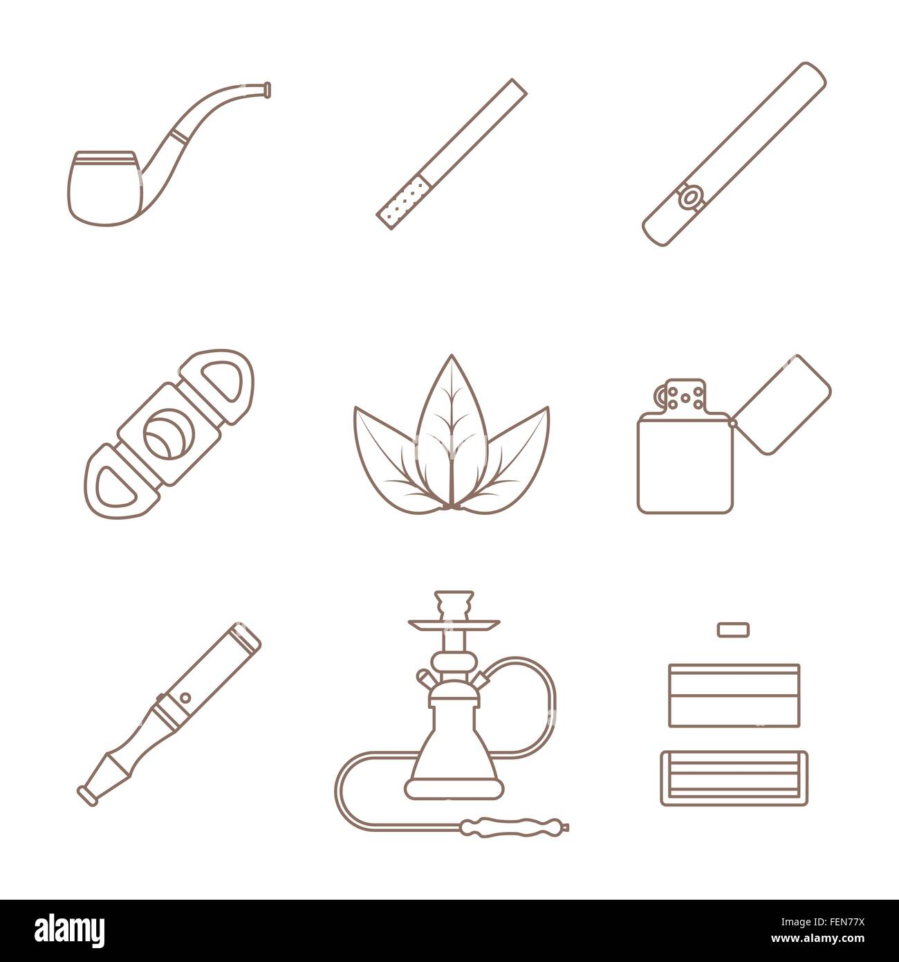 vector grey outline various tobacco goods accessories icons set white background - Stock Vector