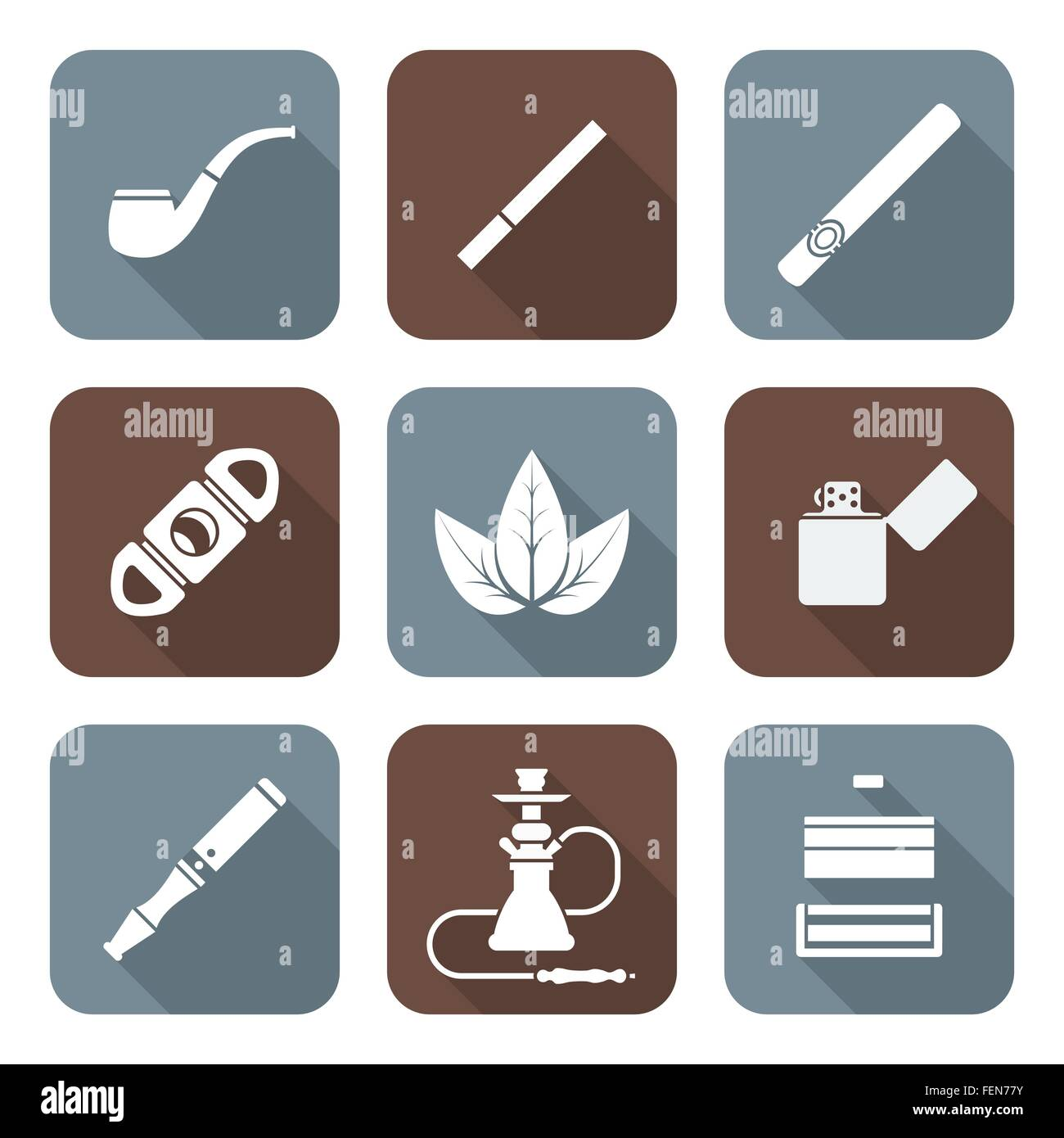 vector white color flat design various tobacco goods accessories square icons set long shadow - Stock Vector