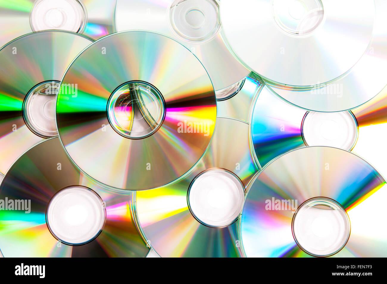 Optical storage cds cd pile stack music film films piracy digital data - Stock Image