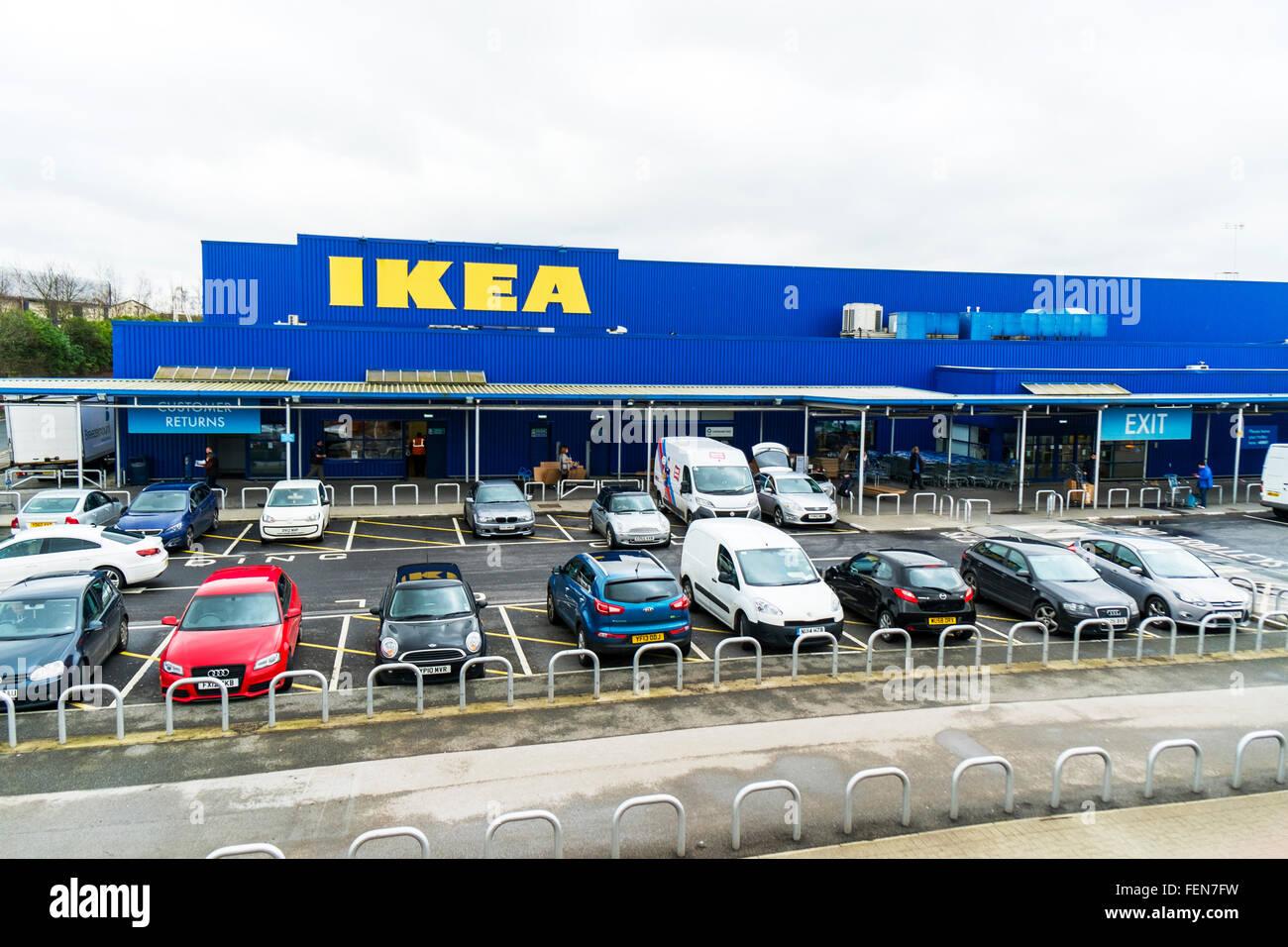 Ikea store sign leeds Birstall retail park Batley UK England Scandinavian shop shopping - Stock Image