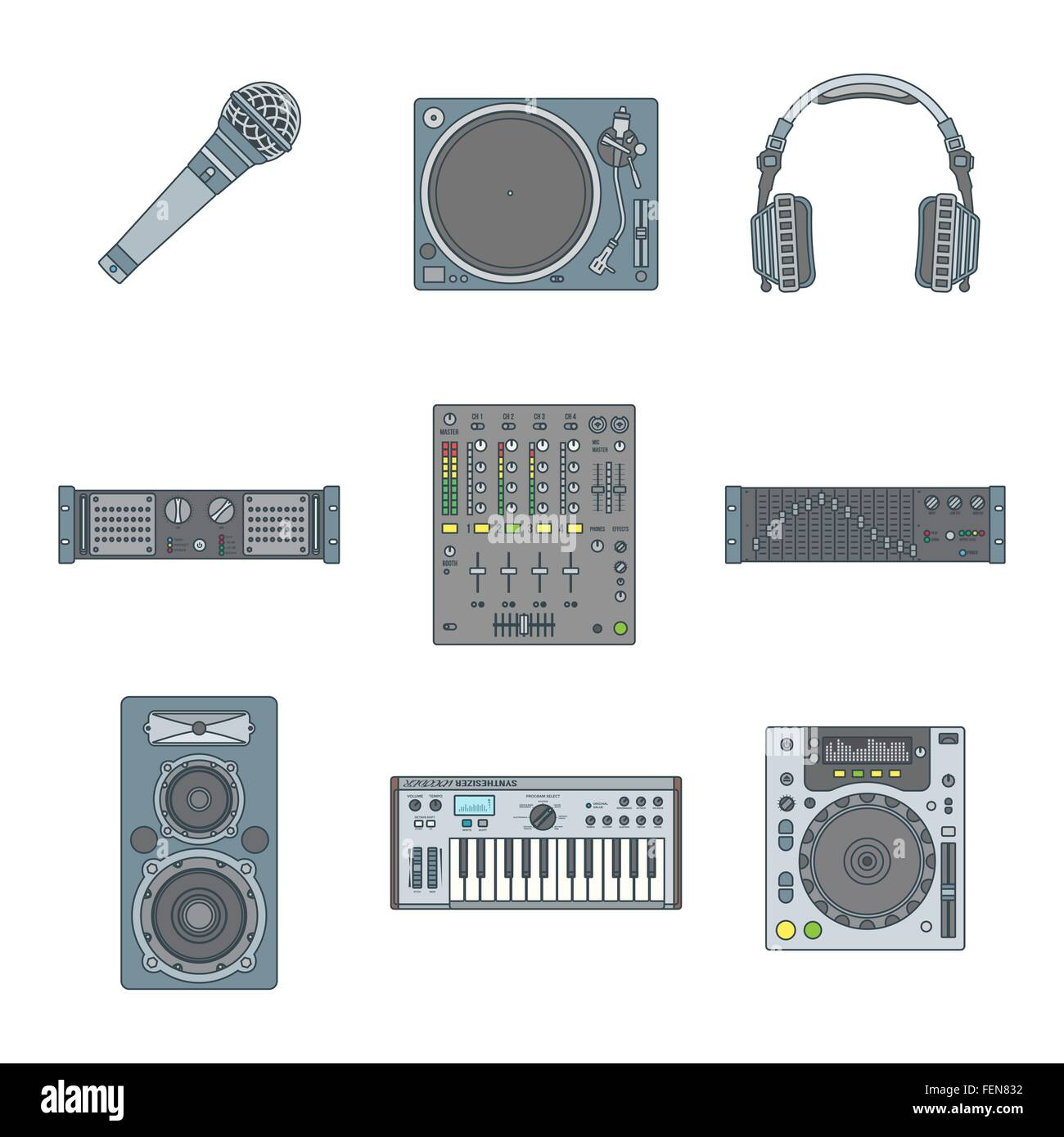 Vector Various Color Outline Sound Dj Equipment Devices Icons Set White Background