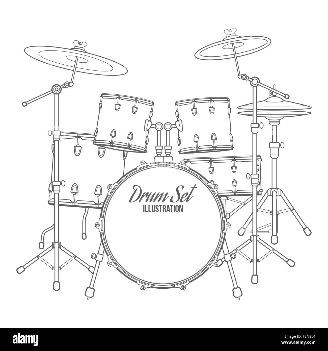Black And White Diagram Of A Drum Set Including Cymbals High Hat Vector Dark Outline On Background Bass Tom Ride Rh Alamy Com