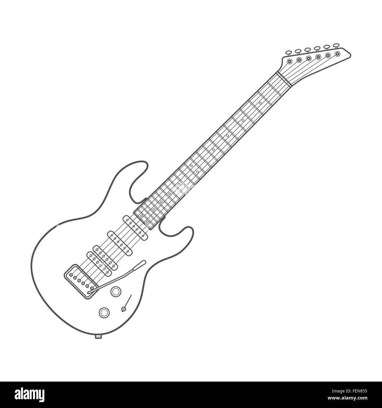Vector Dark Outline Design White Electric Guitar Illustration With