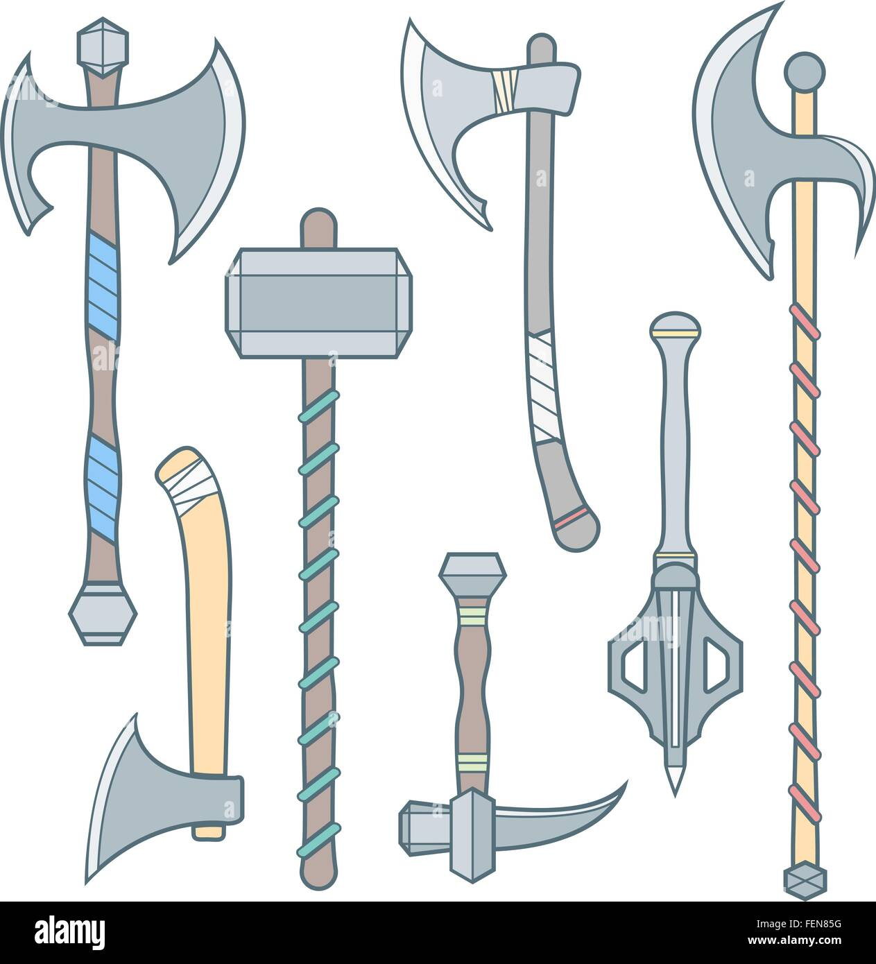 vector colored outline cold medieval weapons set with ax axe