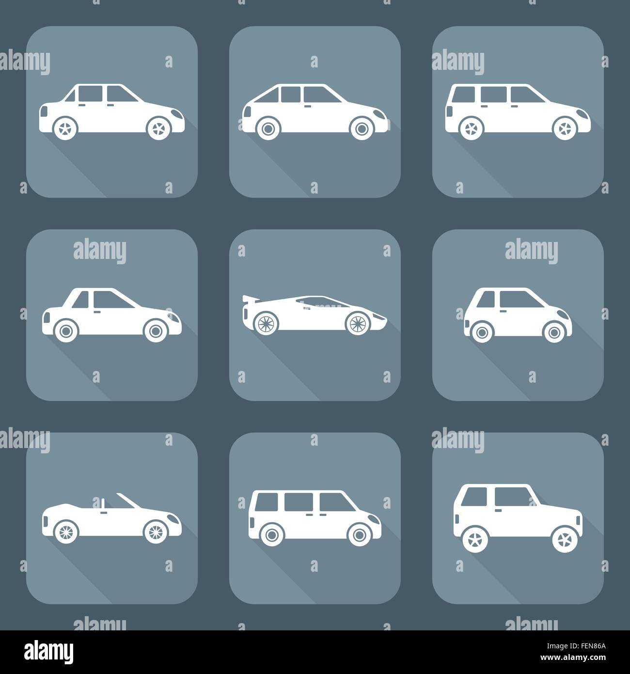 Vector White Flat Design Various Body Types Of Cars Classification Stock Vector Image Art Alamy