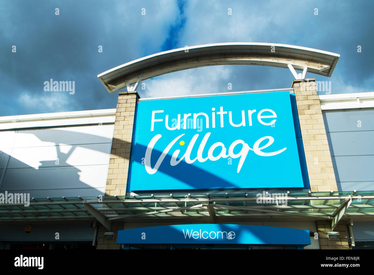 Furniture village store sign logo name shop exterior leeds birstall retail park batley