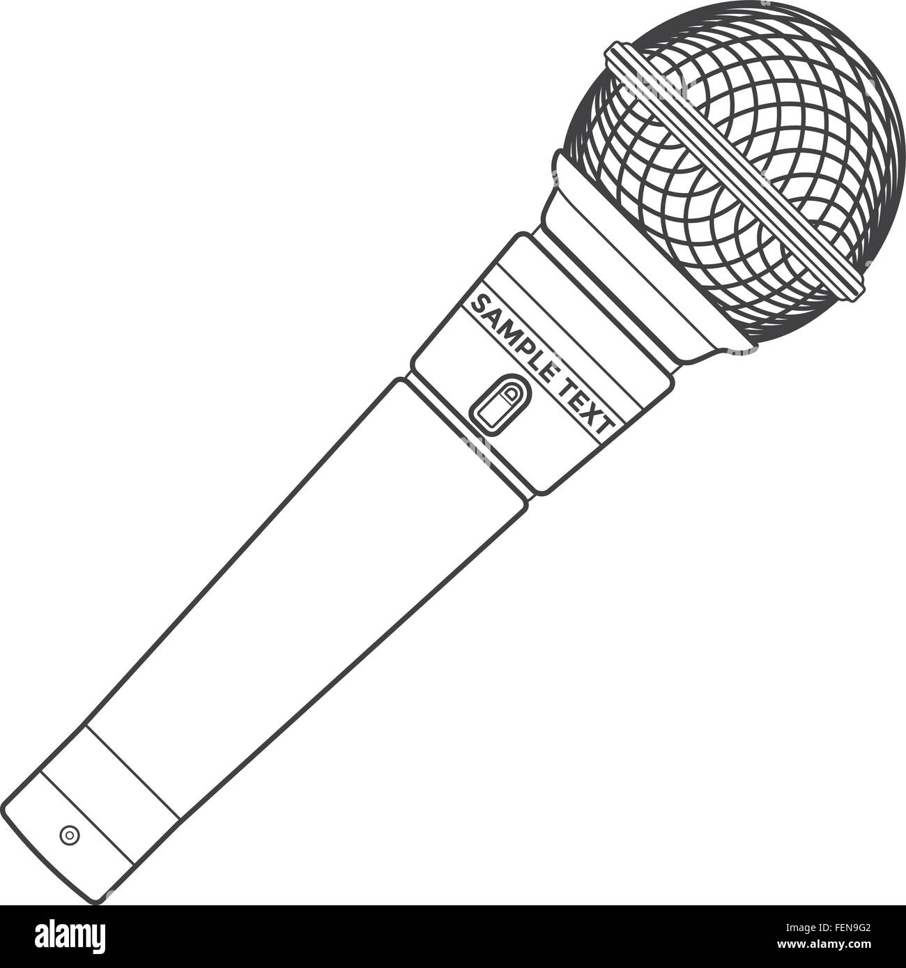 vector dark grey color outline stage microphone device - Stock Image