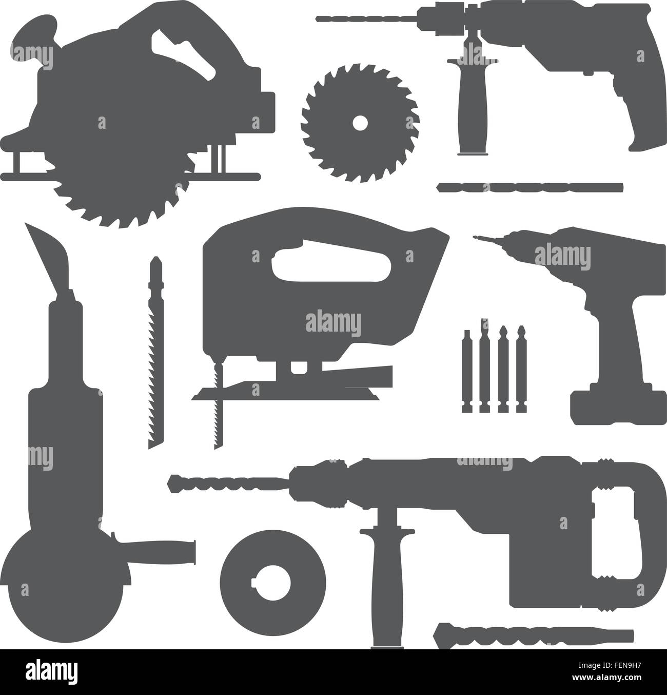 house remodel electric instruments with replacement blade drill grey silhouette set Stock Vector