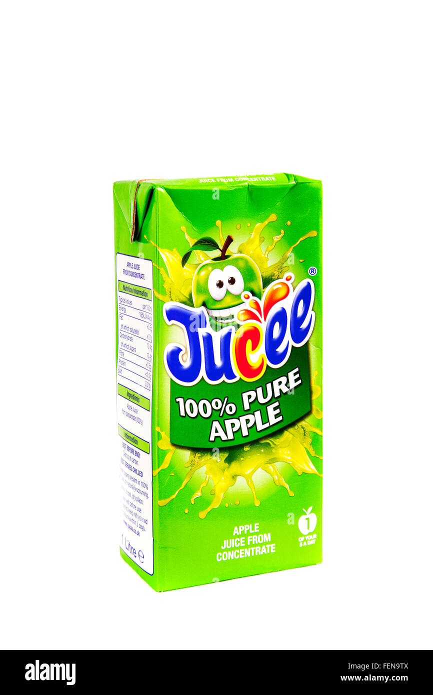 Apple juice concentrate carton 100% pure Jucee brand drink drinks cutout cut out white background isolated - Stock Image