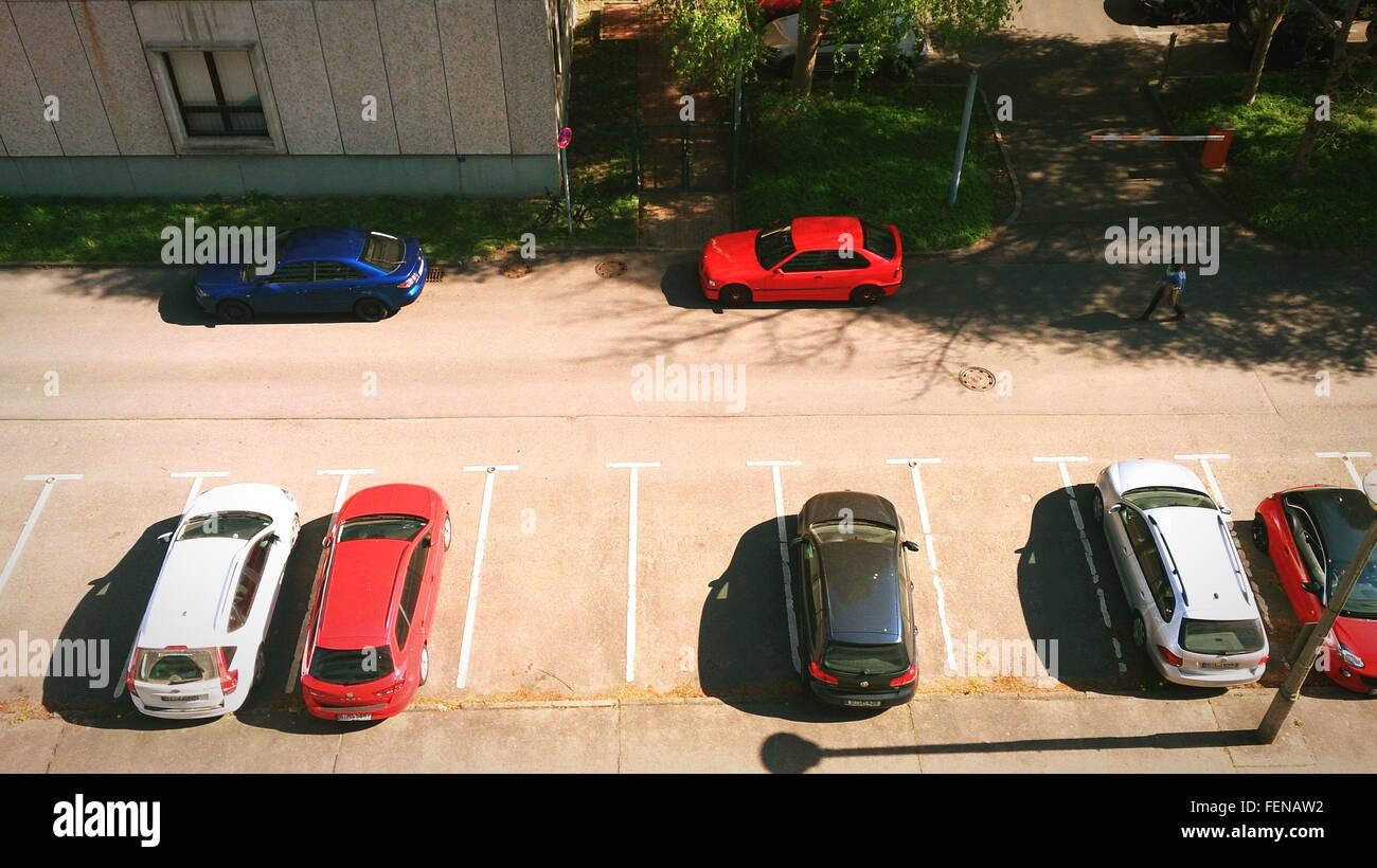 High Angle View Of Cars At Parking Lot - Stock Image