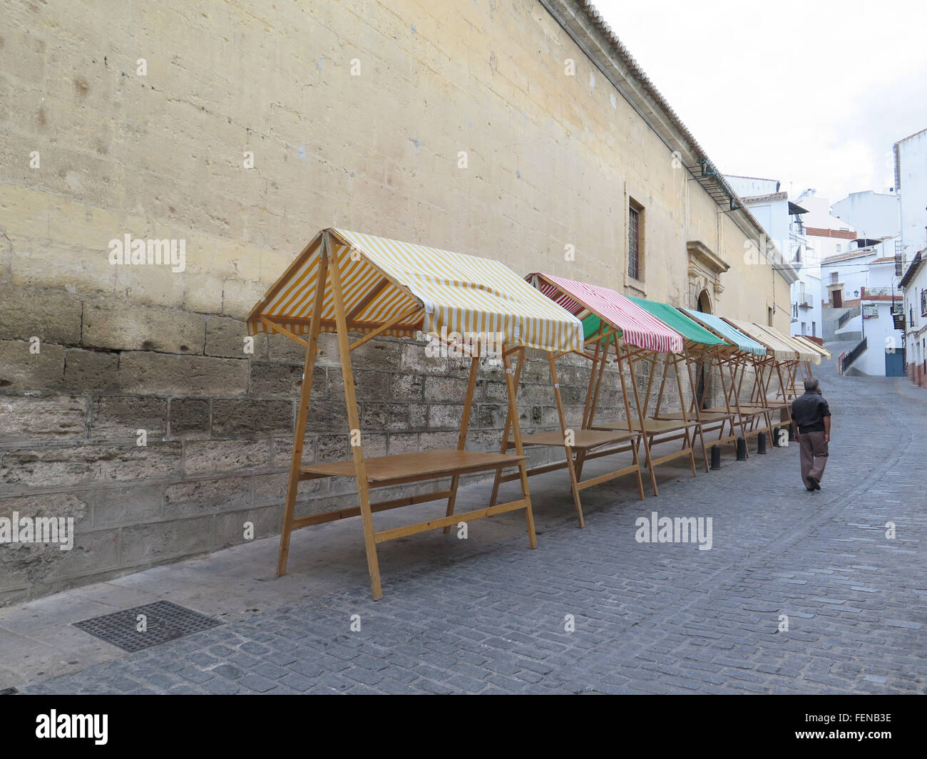 Colorful Market stalls  in Alora square ready for local market - Stock Image
